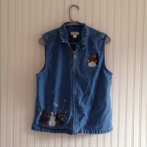 Coldwater Creek | Denim Teddy Bear Vest Large